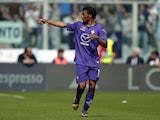 Guillermo Cuadrado of ACF Fiorentina celebrates after scoring a goal during the Serie A match between ACF Fiorentina and Udinese Calcio at Stadio Artemio Franchi on April 6, 2014
