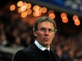 Laurent Blanc the PSG manager looks on during the UEFA Champions League quarter final, first leg match between Paris Saint Germain and Chelsea at Parc des Princes on April 2, 2014