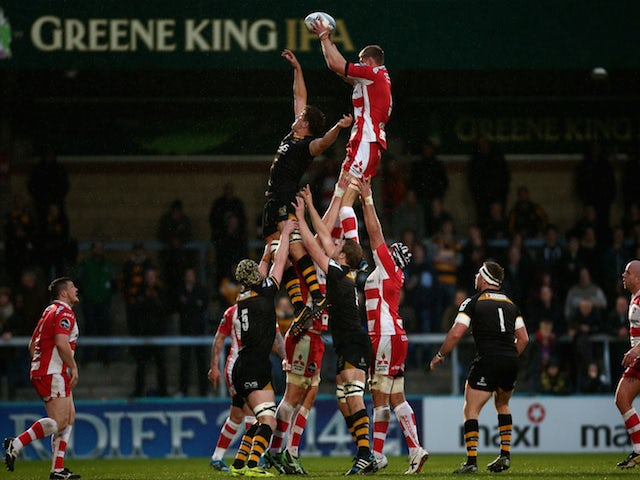Will James of Gloucester wins a line-out during the Amlin Challenge Cup Quarter-Final between London Wasps and Gloucester at Adams Park on April 6, 2014