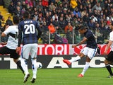 Inter's Fredy Guarin scores his team's second goal against Parma during the Serie A match on April 19, 2014