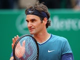 Roger Federer celebrates his win over Radek Stepanek in the Monte Carlo Masters second round on April 16, 2014
