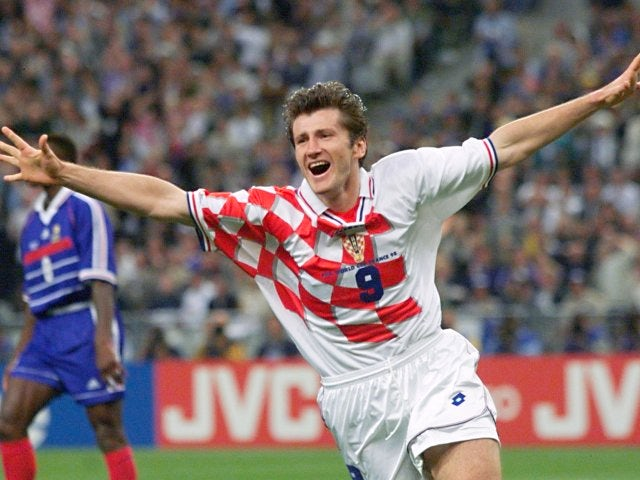Davor Suker celebrates scoring for Croatia at the World Cup on July 08, 1998.