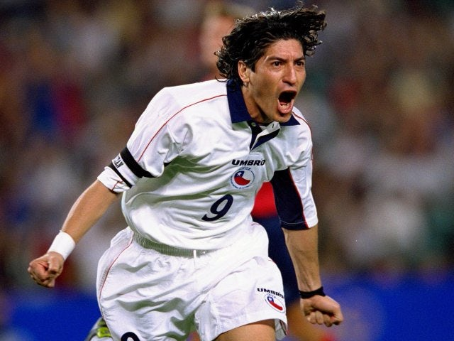 Ivan Zamarano celebrates scoring for Chile at the Sydney Olympics on September 29, 2000.