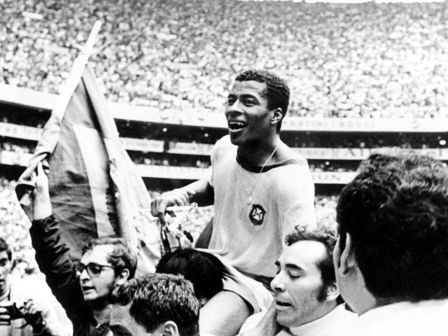 Jairzinho celebrates Brazil winning the World Cup with supporters on June 21, 1970.