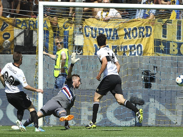 Antonio Cassano of Parma FC scores the opening goal during the Serie A match between Parma FC and UC Sampdoria at Stadio Ennio Tardini on May 4, 2014