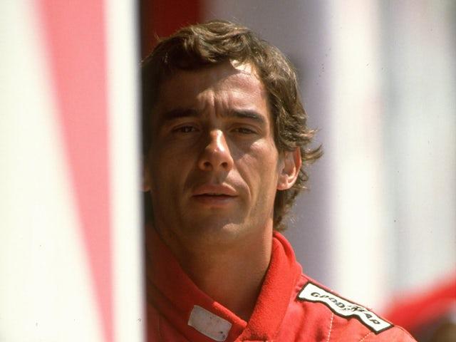 Ayrton Senna of Brazil during Formula One testing at the Imola circuit in 1990