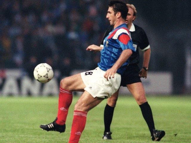 Former Manchester United striker Eric Cantona in action for France on June 05, 1992.