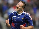 Bayern Munich winger Franck Ribery celebrates scoring for France on May 26, 2010.