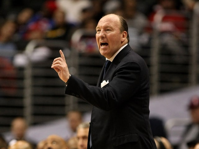 Head coach Mike Dunleavy of the Los Angeles Clippersgestures in the game with the New Jersey Nets on January 18, 2010