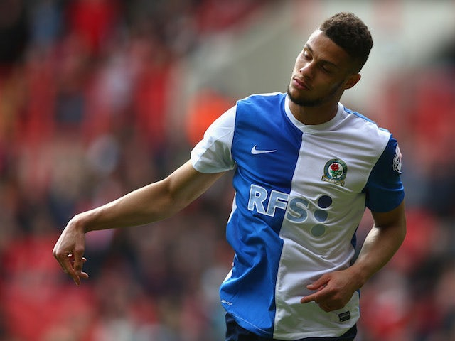 Rudy Gestede of Blackburn Rovers celebrates scoring the first goal for Blackburn during the Sky Bet Championship match against Charlton on April 24, 2014