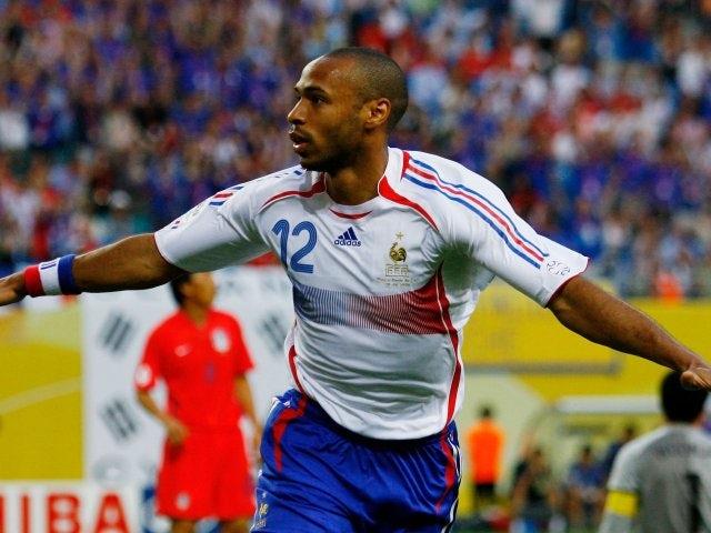 Former Arsenal striker Thierry Henry celebrates scoring for France against South Korea on June 18, 2006.