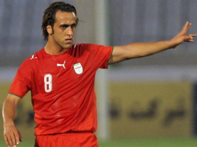 Midfielder Ali Karimi in action for Iran on July 02, 2007.