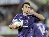 Giuseppe Rossi of ACF Fiorentina celebrates after scoring a goal during the Serie A match between ACF Fiorentina and US Sassuolo Calcio at Stadio Artemio Franchi on May 6, 2014