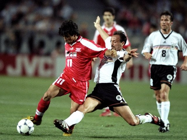 Khodadad Azizi in action for Iran against Germany at the World cup on June 25, 1998.