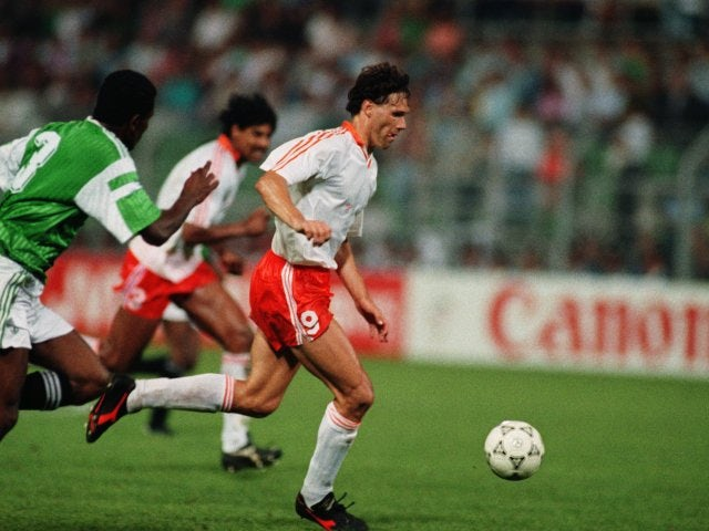 Holland's Marco van Basten dribbles the ball at the World Cup on June 12, 1990.