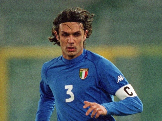 Defender Paolo Maldini in action for Italy against England on February 28, 2001.