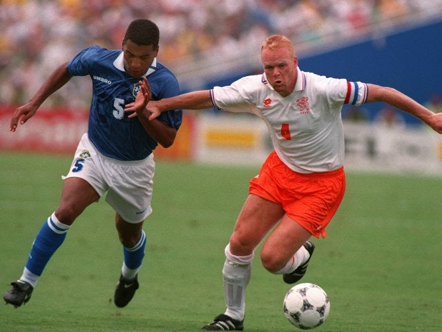 Netherlands defender Ronald Koeman in action against Brazil on July 09, 1994.