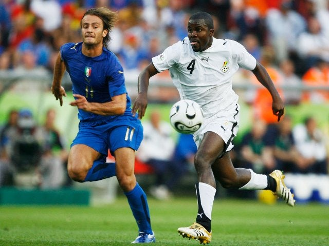 Former Bayern Munich defender Samuel Kuffour in action for Ghana against Italy on June 12, 2006.