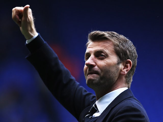 Tottenham Hotspur interim manager Tim Sherwood acknowledges his sides fans following the Barclays Premier League match between Tottenham Hotspur and Aston Villa at White Hart Lane on May 11, 2014