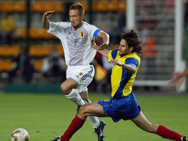 Japan midfielder Hidetoshi Nakata in action against Ecuador on June 22, 2003.