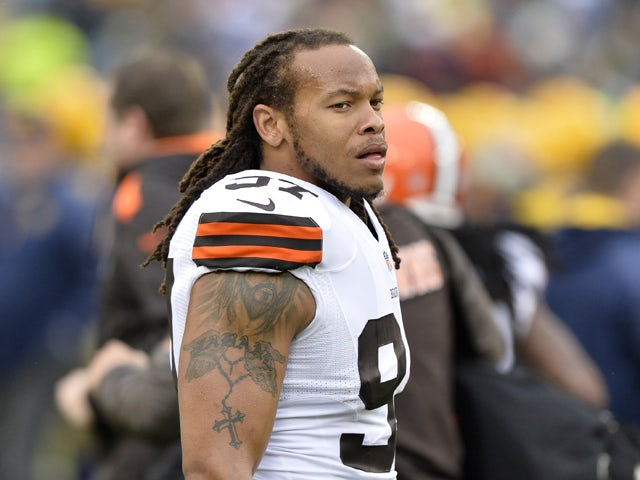 Linebacker Jabaal Sheard #97 of the Cleveland Browns stands on the field during warmups before the game against the Green Bay Packers at Lambeau Field on October 20, 2013