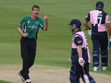 Worcestershire's Jack Shantry celebrates taking a wicket on April 24, 2011.