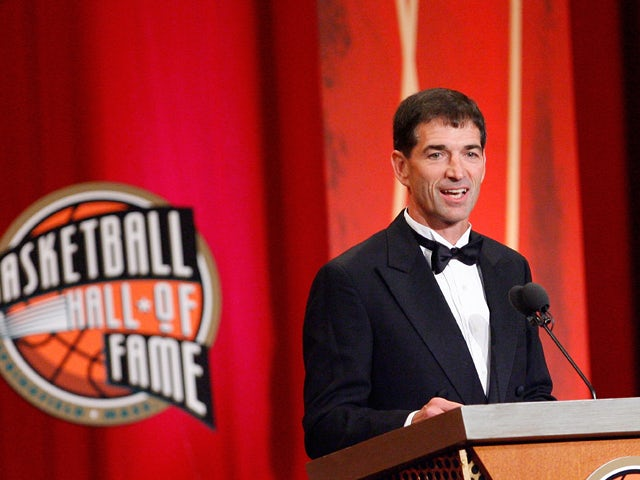 John Stockton is inducted into the Naismith Memorial Basketball Hall of Fame during an induction ceremony on September 11, 2009