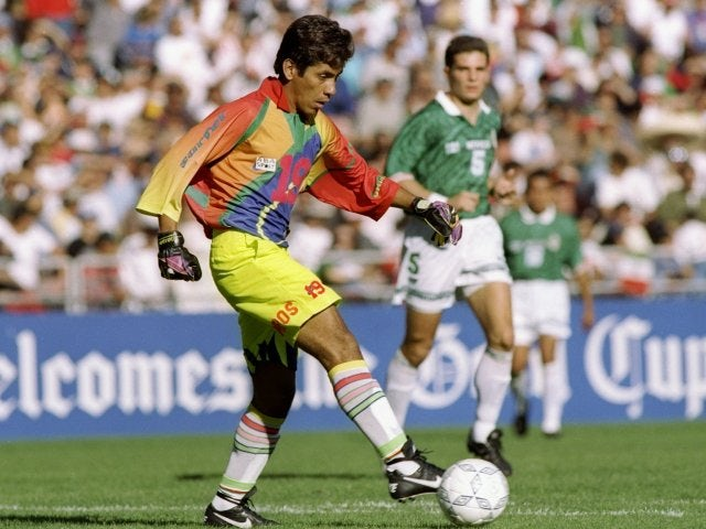 Goalkeeper Jorge Campos in action for Mexico on January 14, 1996.