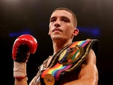 Lee Selby celebrates his victory over Ryan Walsh during their British and Commonwealth Featherweight Championship bout at O2 Arena on October 5, 2013
