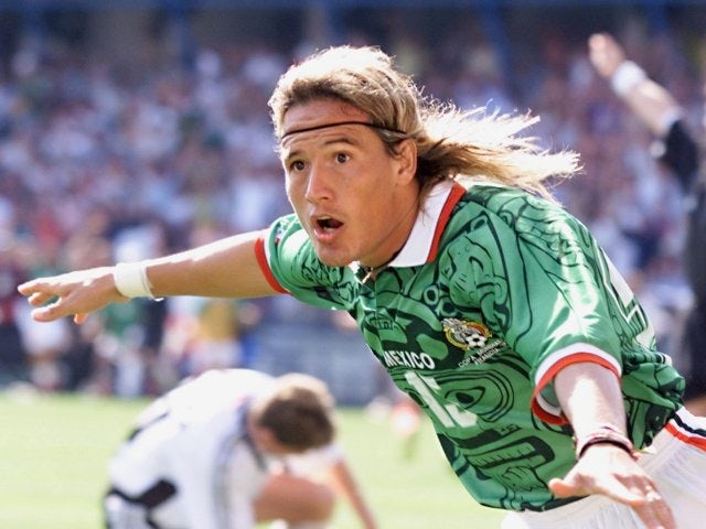 Luis Hernandez celebrates scoring for Mexico against Germany on June 29, 1998.