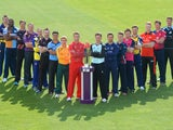 Players from each team pose with the Natwest T20 Blast trophy in Birmingham on April 17, 2014.
