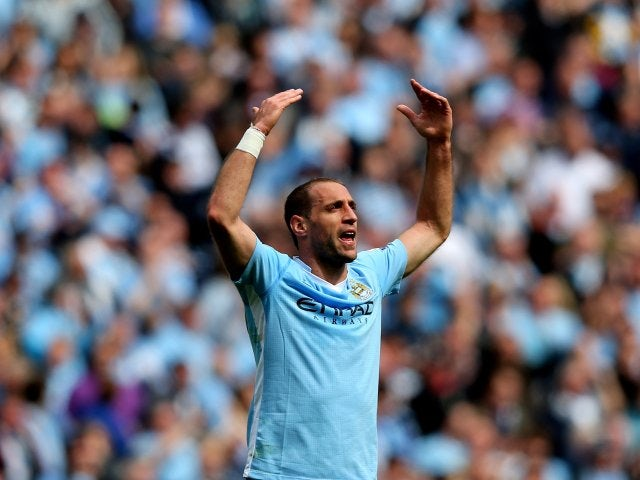 Pablo Zabaleta celebrates scoring for Manchester City against Queens Park Rangers on May 13, 2012.