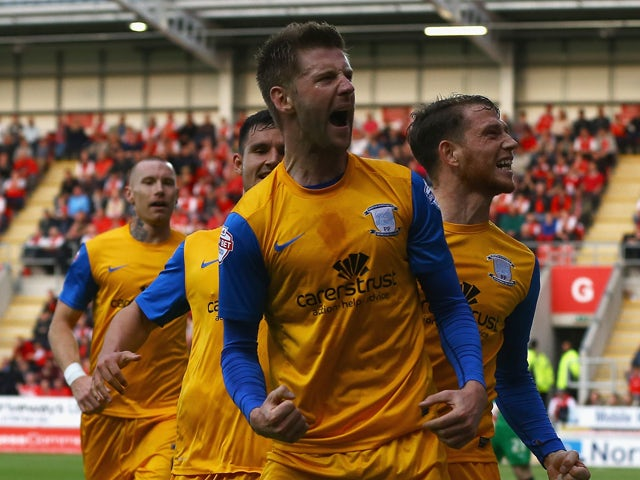 Paul Gallagher of Preston celebrates his goa;l during the Sky Bet League One Play Off Semi Final Second Leg between at Rotherham United and Preston North End at The New York Stadium on May 15, 2014