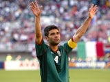 Mexico captain Rafael Marquez salutes the crowd on June 03, 2002.