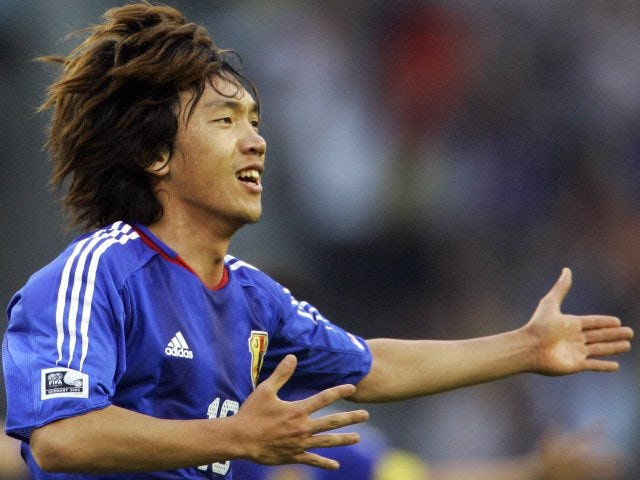 Former Celtic midfielder Shunsuke Nakamura celebrates scoring for Japan on June 25, 2005.
