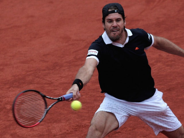 Tommy Haas of Germany plays a forehand during his match against Martin Klizan of Slovakia during the BMW Open on May 3, 2014
