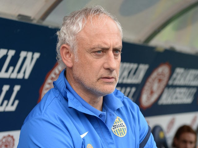 Head coach of Hellas Verona FC Andrea Mandorlini looks on during the Serie A match between Hellas Verona FC and Udinese Calcio at Stadio Marc'Antonio Bentegodi on May 10, 2014