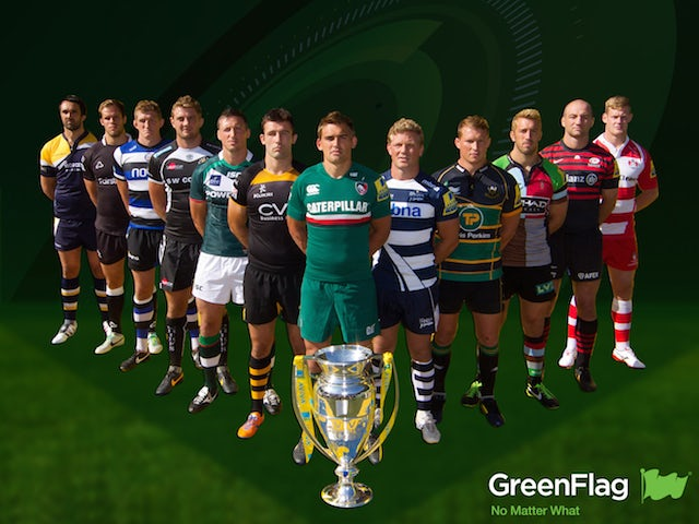 Aviva Premiership players stand with the trophy for a Green Flag advert