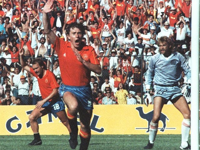 Spain's Emilio Butragueno celebrates one of his four World Cup goals against Denmark on June 18, 1986.