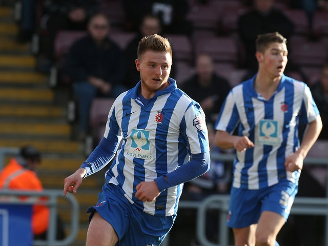 Jack Barmby of Hartlepool United in action during the Sky Bet League Two match between Northampton Town and Hartlepool United at Sixfields Stadium on February 22, 2014