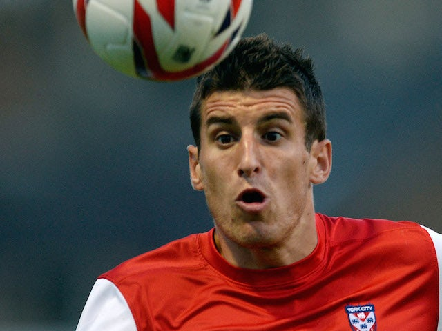 Michael Coulson of York City during a pre-season friendly against Leicester City at Bootham Cresent on July 24 2013