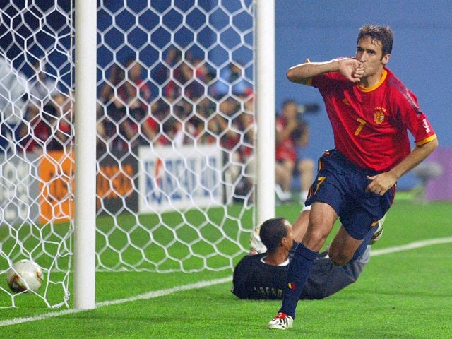 Spain centre-forward celebrates scoring for a second time against South Africa on June 12, 2002.