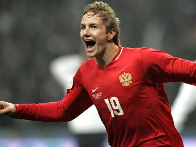 Roman Pavlyuchenko celebrates scoring for Russia against England on October 17, 2007.