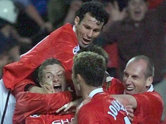 Ryan Giggs, Ole Gunnar Solskjaer and Manchester United teammates celebrate the latter's goal in the Champions League final on May 25, 1999.