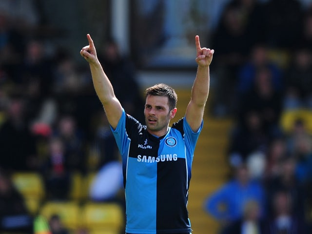 Steven Craig of Wycombe Wanderers celebrates scoring his side's second goal during the Sky Bet League Two match between Torquay United and Wycombe Wanderers at Plainmoor on May 3, 2014
