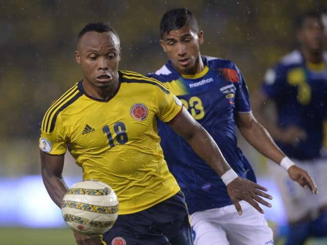 Defender Camilo Zuniga in action for Colombia against Ecuador on September 06, 2013.