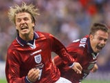David Beckham celebrates scoring for England against Colombia on June 26, 1998.