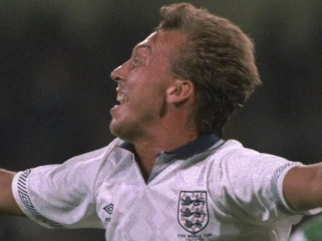 David Platt celebrates scoring for England at the World Cup on July 01, 1990.