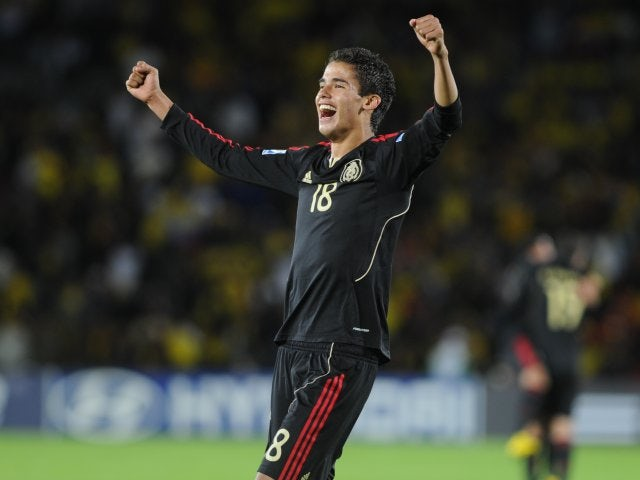 Diego Reyes celebrates a Mexico victory on August 13, 2011.