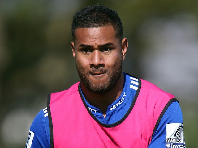 Frank Halai of the Blues passes during a Auckland Blues Super Rugby training session at Unitec on April 30, 2014